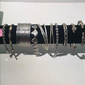 Lot of Silvertone bracelets - TOTAL=14!!